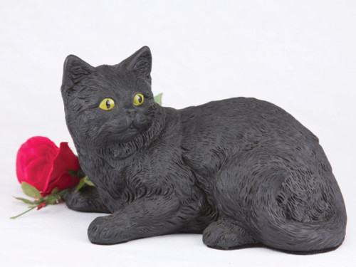 Companion Series cat cremation urn longhair black