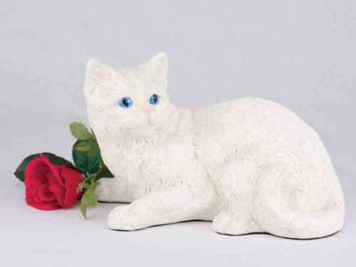 Companion Series cat cremation urn shorthair white