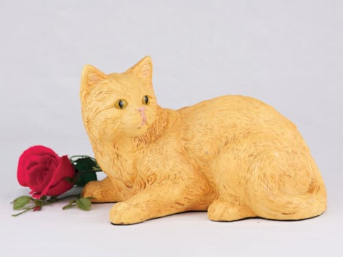 Companion Series cat cremation urn shorthair solid orange - not calico