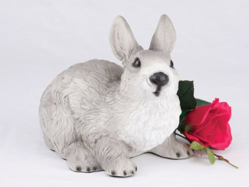 Rabbit - Gray & White figurine cremation urn for ashes