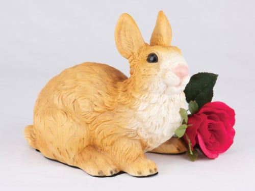 Rabbit - Brown & White figurine cremation urn for ashes