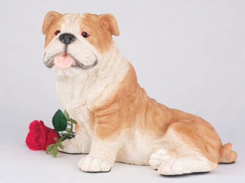 Bulldog, Fawn & White figurine urn for dog ashes cremation