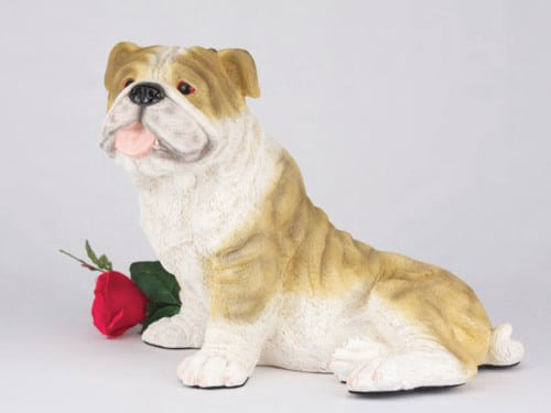 Bulldog, Brindle & White figurine cremation urn for dog ashes