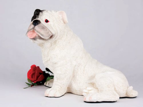 Bulldog, White figurine cremation urn for dog ashes