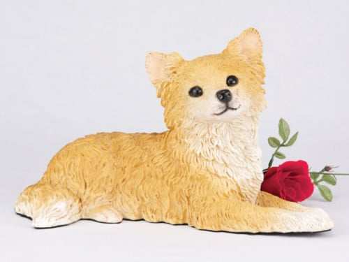Chihuahua, Longhair, Fawn & White figurine dog cremation urn for ashes
