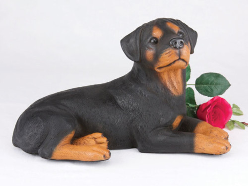 Rottweiler figurine urn for cremation ashes, dog