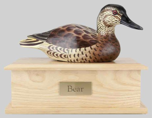 Duck decoy cremation decoy and storage box for ashes