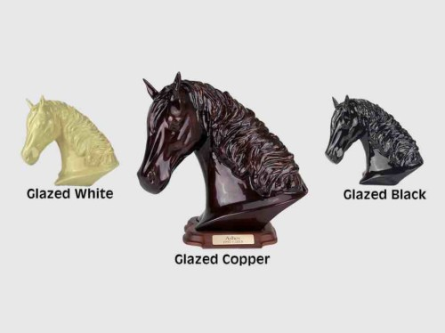 Metal horse keepsake urn for cremation ashes - with engraved wood base