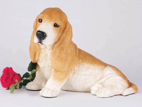 Basset hound urn for dog ashes