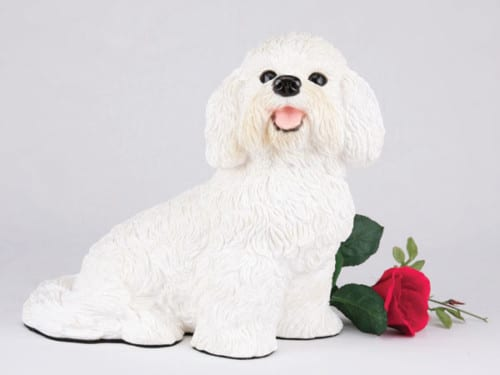 Bichon Frise pet cremation figurine urn for ashes