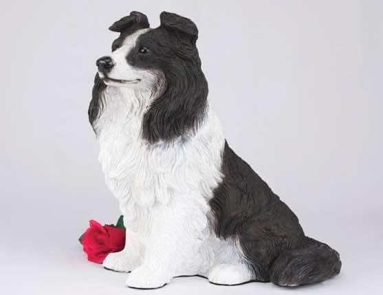 Border Collie Figurine Cremation urn for dog ashes