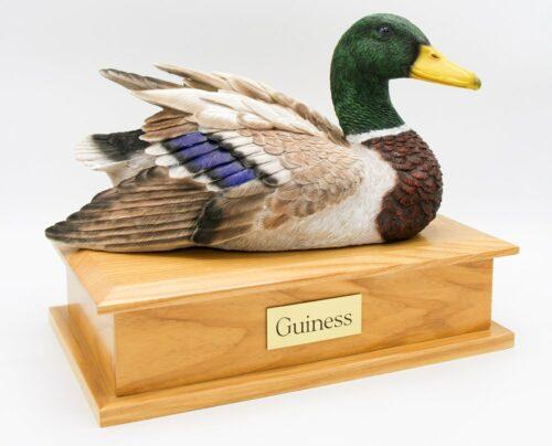 Male duck decoy hunting dog cremation urn
