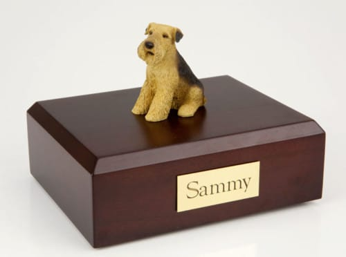 Airedale figurine cremation urn w/wood box,