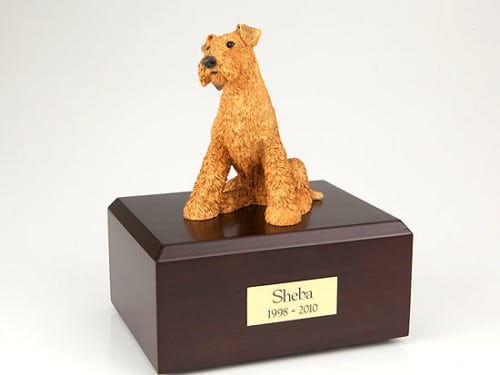 Airedale Terrier figurine cremation urn w/wood box,