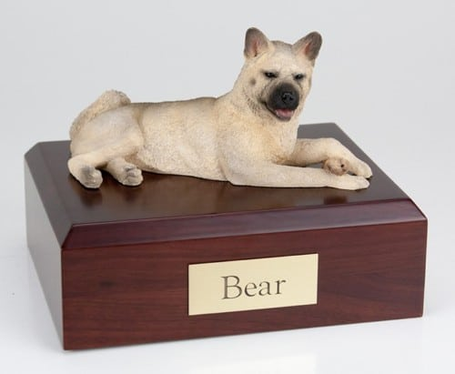 Akita, fawn figurine cremation urn w/wood box,