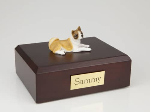Akita figurine cremation urn w/wood box,