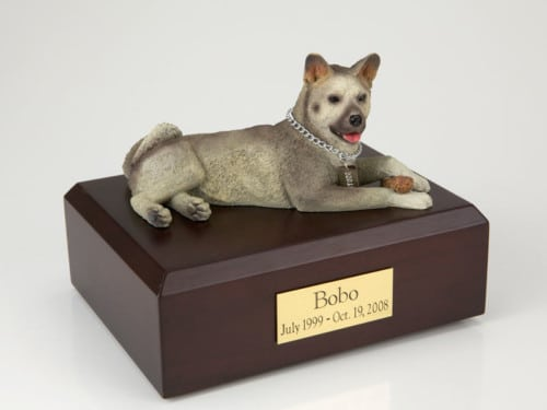 Akita, gray figurine cremation urn w/wood box,