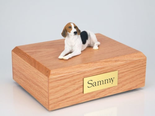 American Foxhound figurine cremation urn w/wood box,