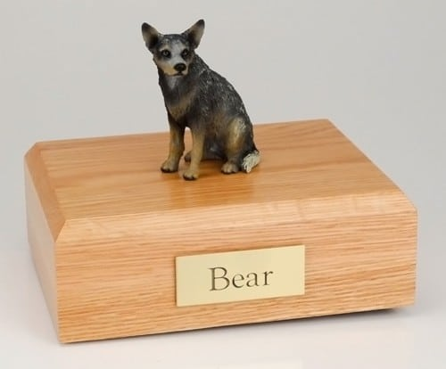 Australian Cattle Dog figurine cremation urn w/wood box