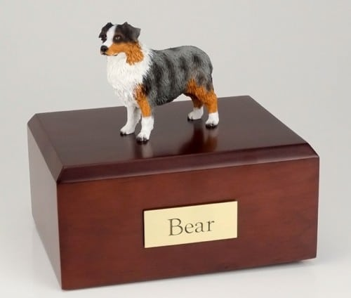 Australian Shepherd Dog figurine cremation urn w/wood box