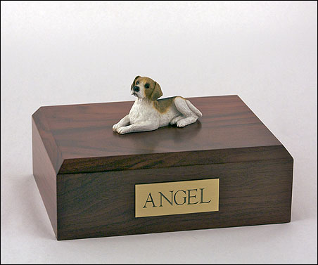 Beagle Dog figurine cremation urn w/wood box
