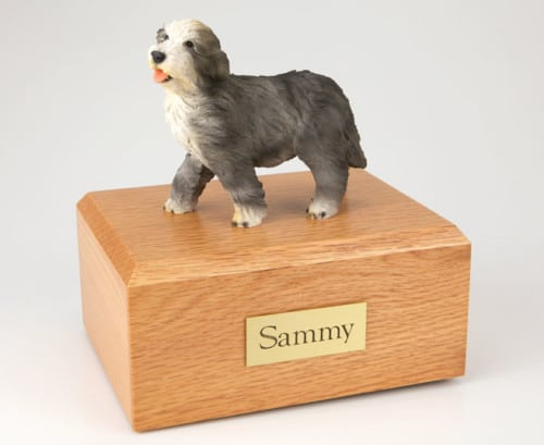 Bearded Collie Dog figurine cremation urn w/wood box