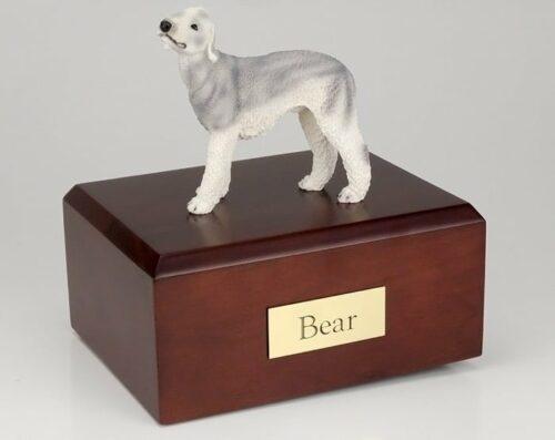 Bedlington Terrier Dog figurine cremation urn w/wood box