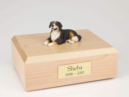 Bernese Mountain Dog figurine cremation urn w/wood box