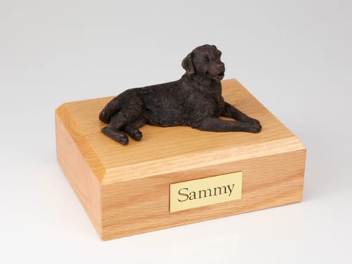 Golden retriever figurine urn w/wood box, bronze, laying down