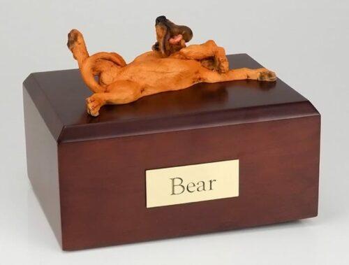 Bloodhound figurine cremation urn w/wood box