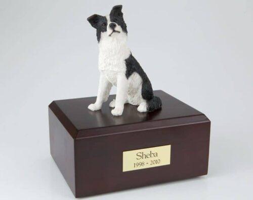 Border Collie figurine cremation urn w/wood box