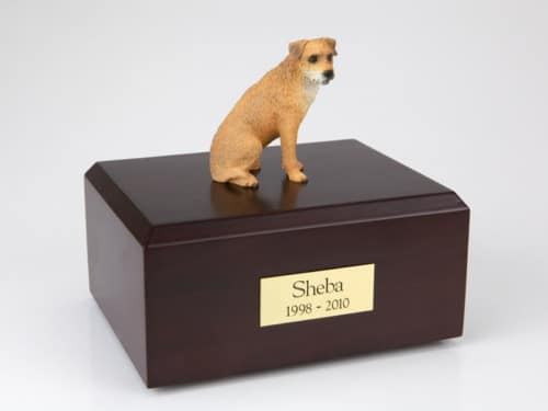 Border Terrier figurine cremation urn w/wood box