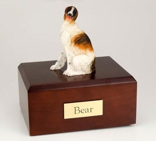 Borzoi figurine cremation urn w/wood box