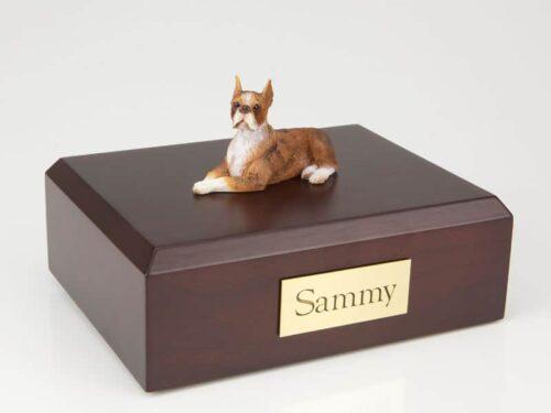 Boxer figurine cremation urn w/wood box