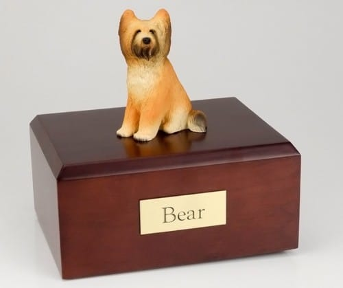 Briard figurine cremation urn w/wood box