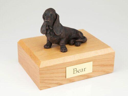 Basset Hound Dog figurine cremation urn w/wood box
