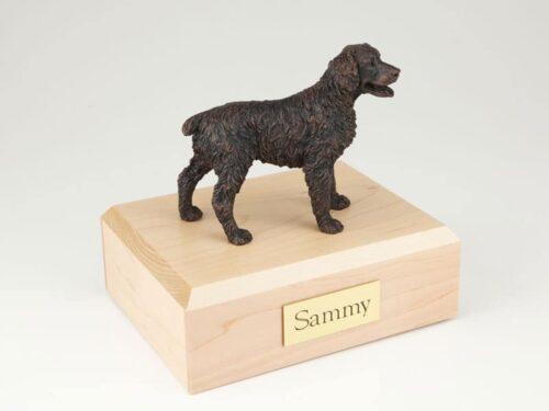 Brittany figurine cremation urn w/wood box