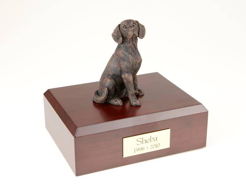 beagle cremation figurine urn w wooden storage box