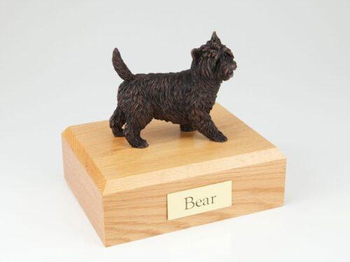 Cairn Terrier figurine cremation urn w/wood box