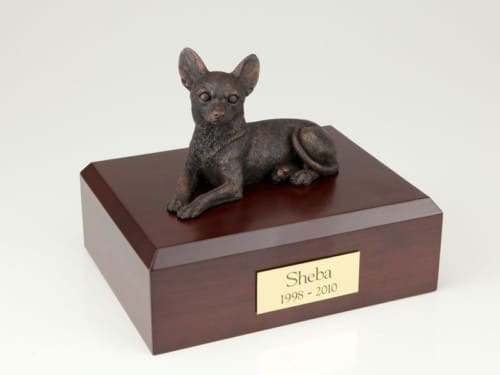 Bronze look Chihuahua figurine cremation urn w/wood box