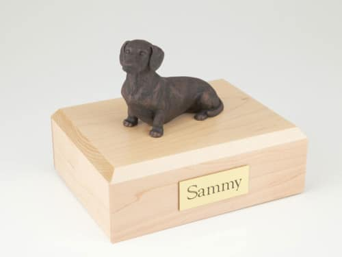 Bronze look Dachshund figurine cremation urn w/wood box