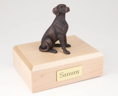 Bronze look Dalmatian figurine cremation urn w/wood box