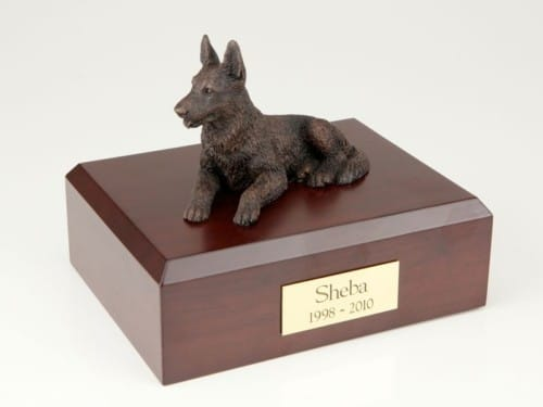 Bronze Look German Shepherd figurine cremation urn w/wood box