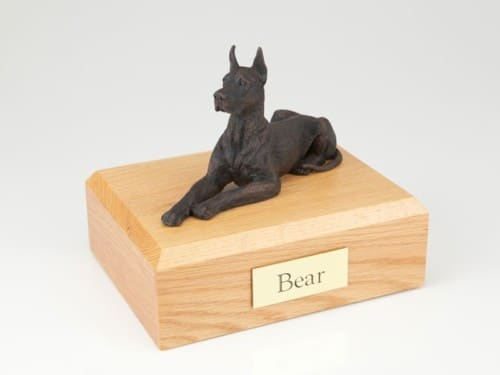 Bronze look Great Dane figurine cremation urn w/wood box