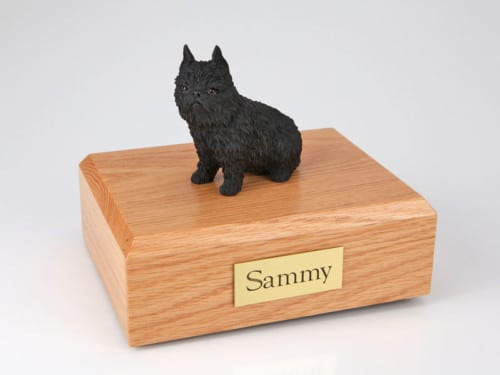 Brussels Griffon figurine cremation urn w/wood box