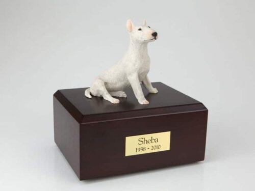 Bull Terrier white figurine cremation urn w/wood box