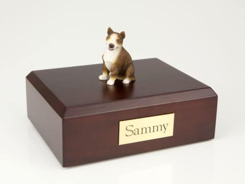 Bull Terrier figurine cremation urn w/wood box
