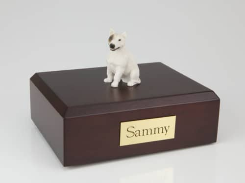 Bull Terrier white figurine cremation urn w/wood box