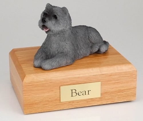 Gray Cairn Terrier figurine cremation urn w/wood box