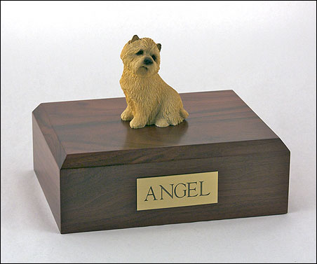 Tan Cairn Terrier figurine cremation urn w/wood box